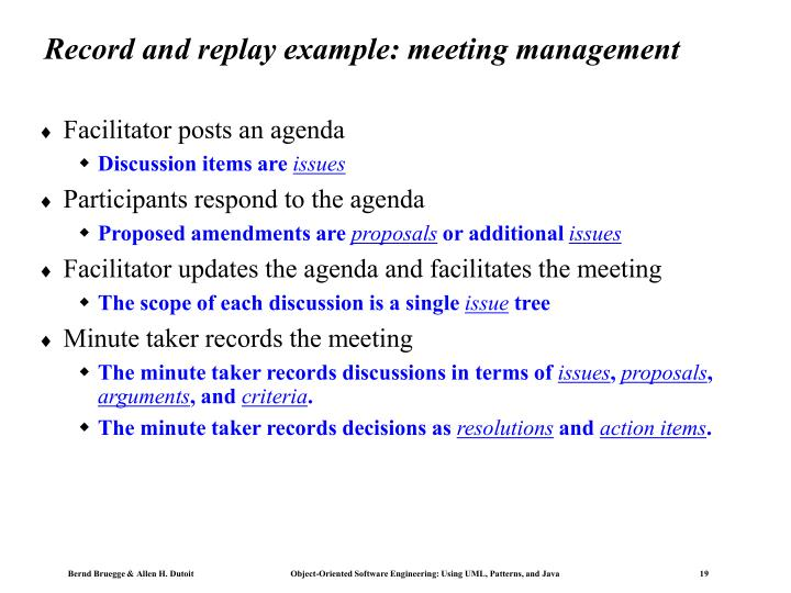 Record and replay example: meeting management