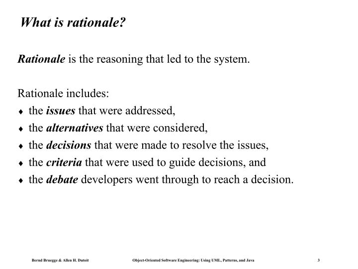 What is rationale