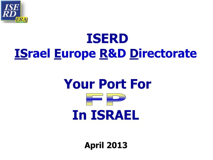 iserd is rael e urope r d d irectorate your port for in israel n.