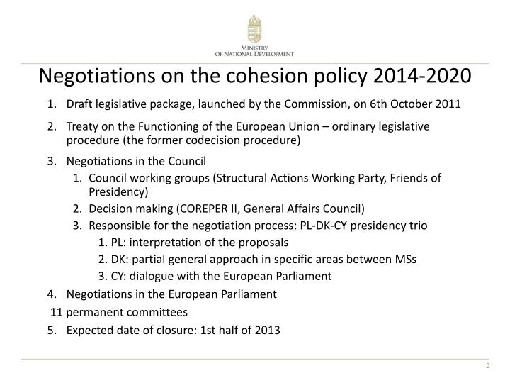 Negotiations on the cohesion policy 2014 2020