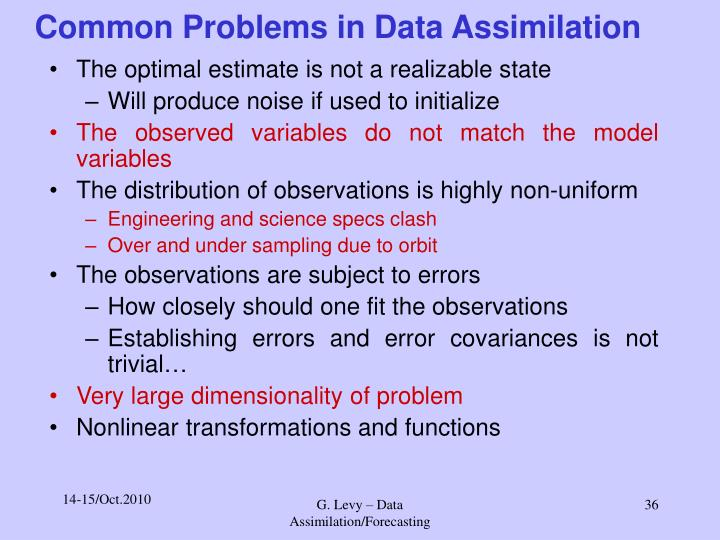 Common Problems in Data Assimilation
