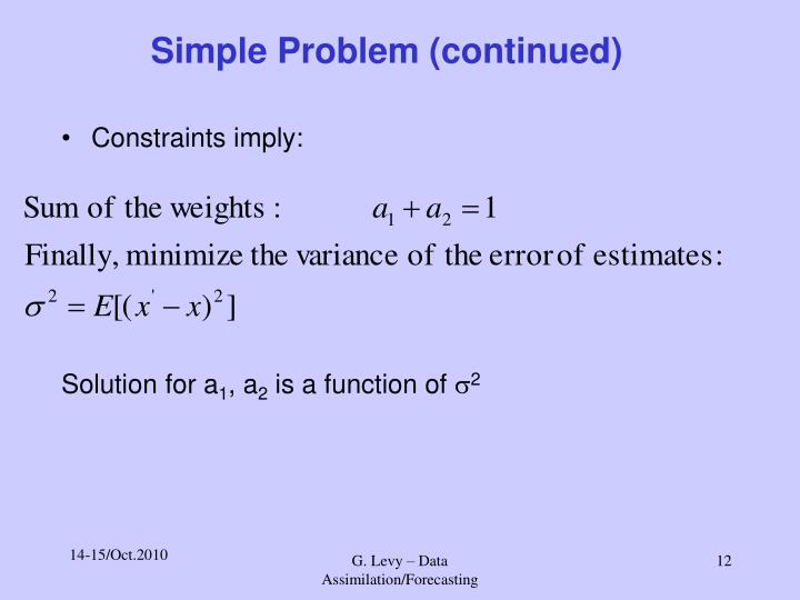 Simple Problem (continued)