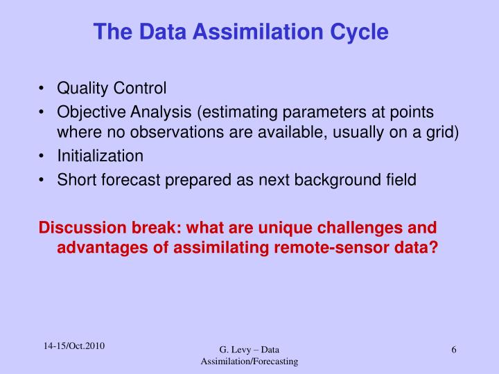 The Data Assimilation Cycle
