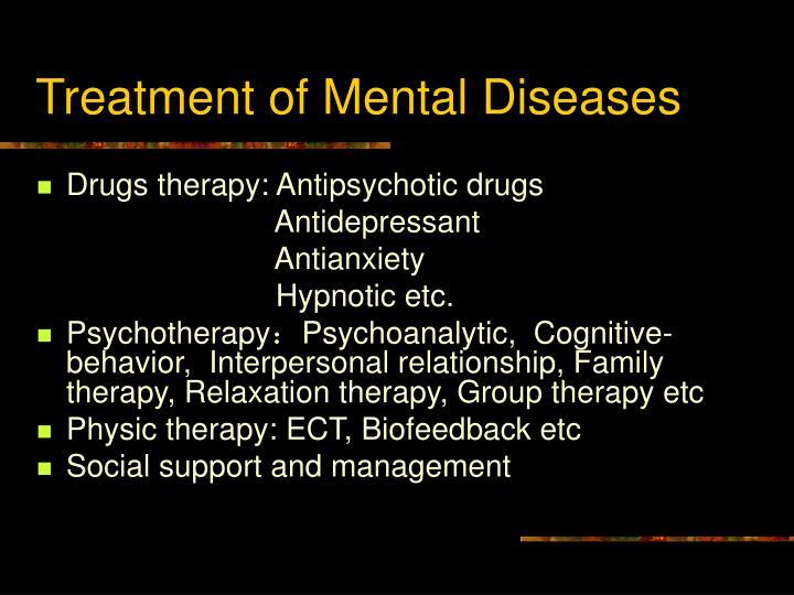 Treatment of Mental Diseases