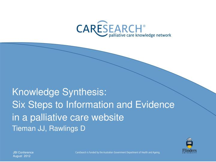 Knowledge Synthesis: