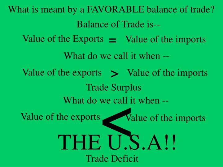 What is meant by a FAVORABLE balance of trade?