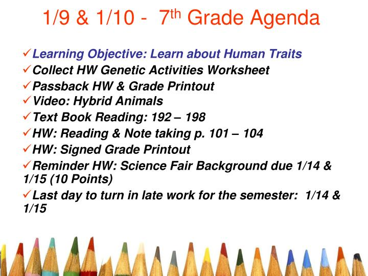 1 9 1 10 7 th grade agenda n.