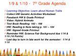 1 9 1 10 7 th grade agenda