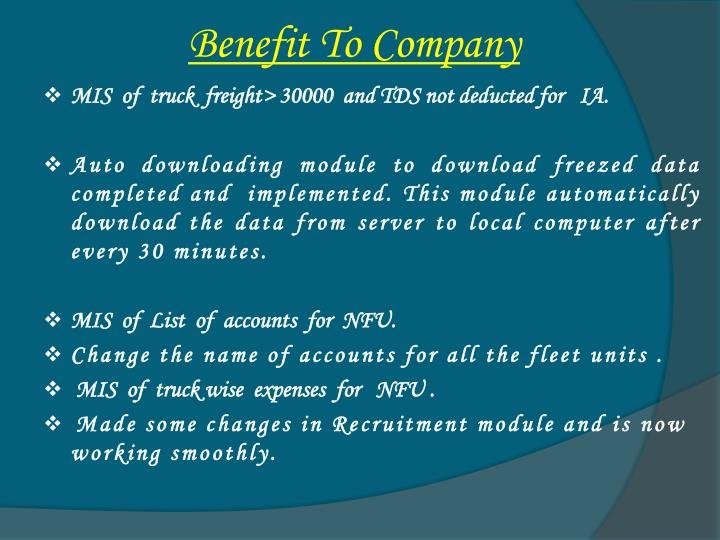 Benefit To Company
