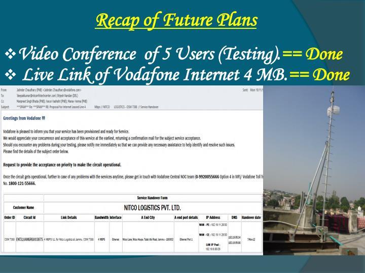 Recap of Future Plans
