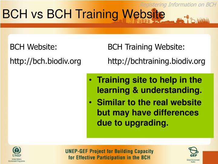 BCH vs BCH Training Website