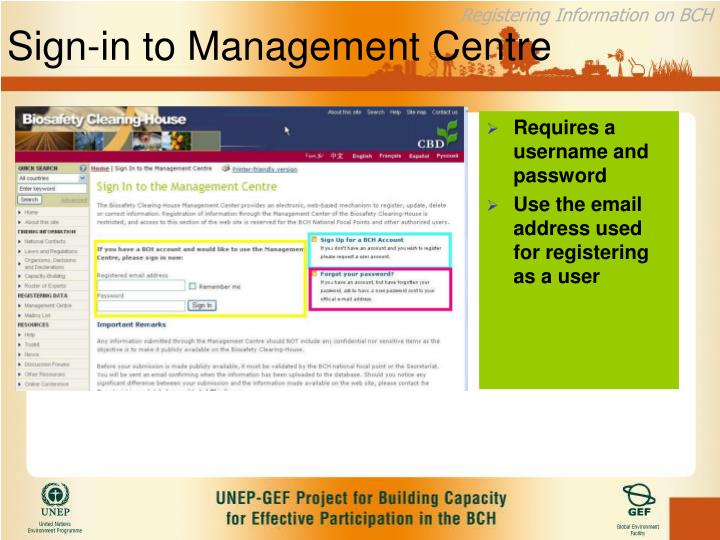 Sign-in to Management Centre