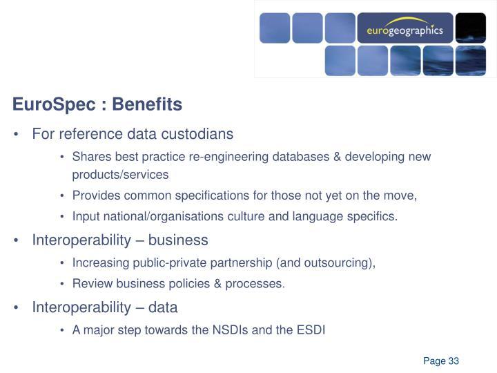 EuroSpec : Benefits