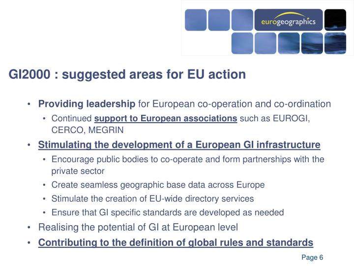 GI2000 : suggested areas for EU action
