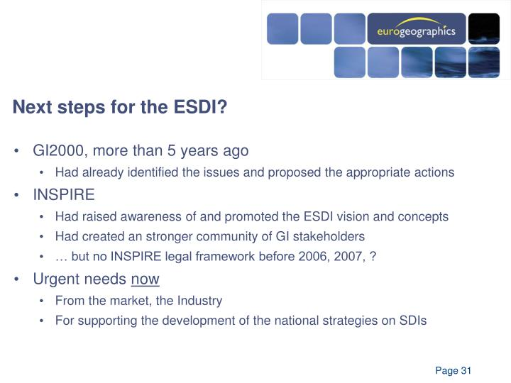 Next steps for the ESDI?
