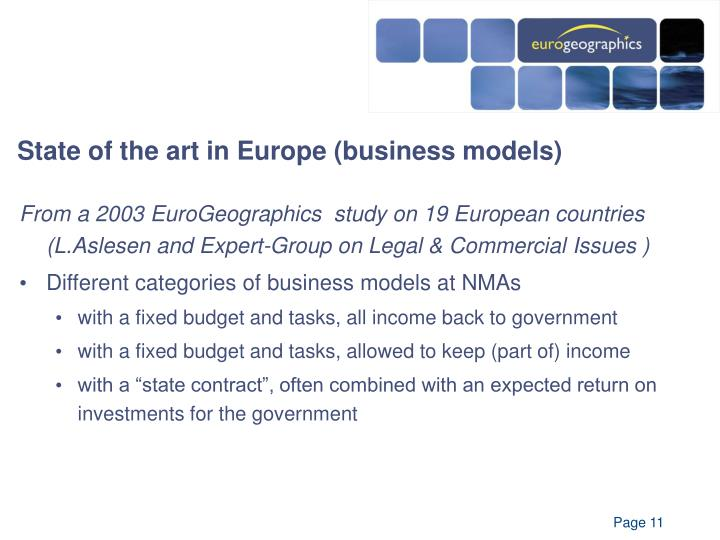 State of the art in Europe (business models)
