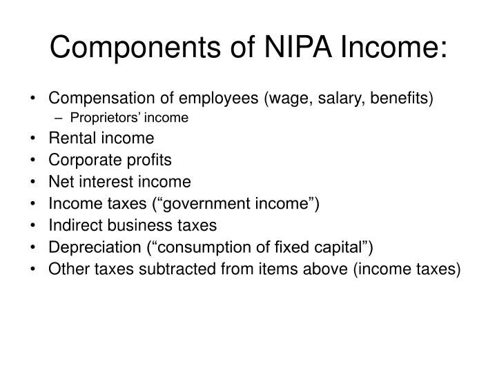 Components of NIPA Income: