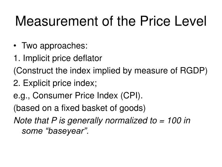 Measurement of the Price Level