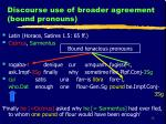 discourse use of broader agreement bound pronouns