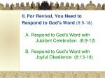 ii for revival you need to respond to god s word 8 9 18