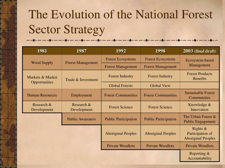 The Evolution of the National Forest Sector Strategy