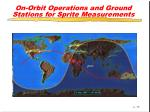 on orbit operations and ground stations for sprite measurements