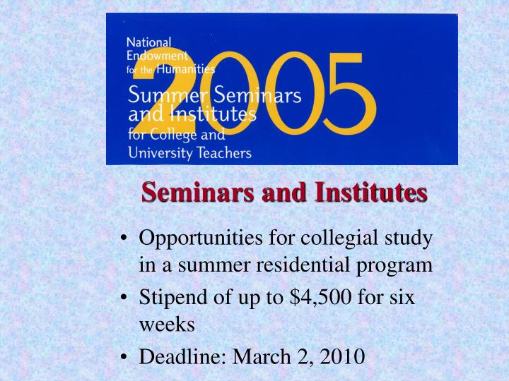 Seminars and Institutes