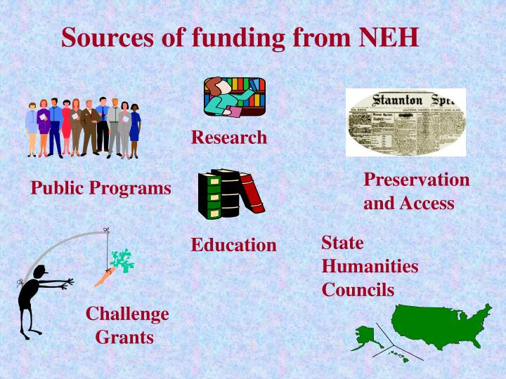 Sources of funding from NEH