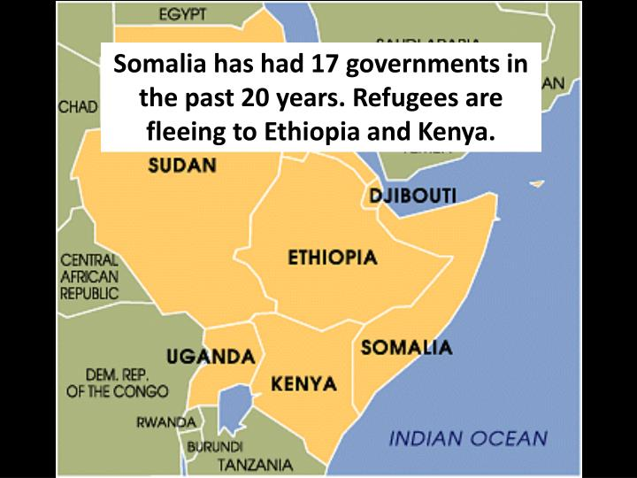 Somalia has had 17 governments in the past 20 years. Refugees are fleeing to Ethiopia and Kenya.