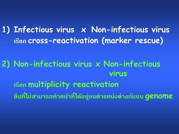 Infectious virus  x 	Non-infectious virus