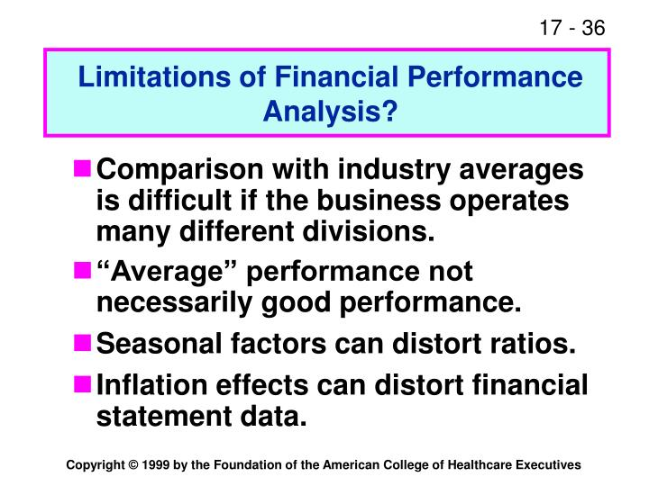 Limitations of Financial Performance Analysis?