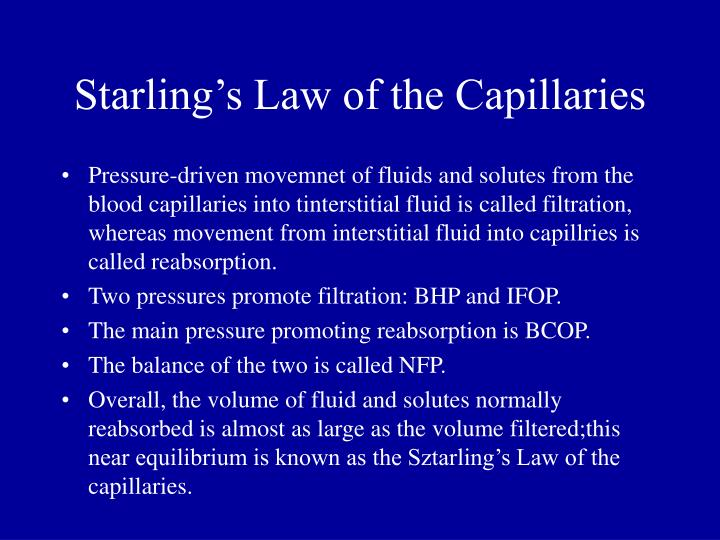 Starling's Law of the Capillaries