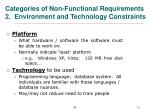 categories of non functional requirements 2 environment and technology constraints