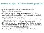 random thoughts non functional requirements