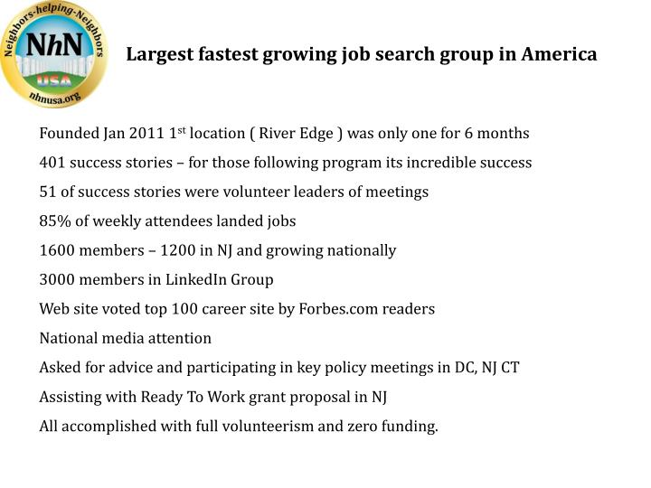 Largest fastest growing job search group in America