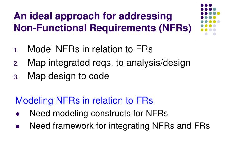 An ideal approach for addressing non functional requirements nfrs