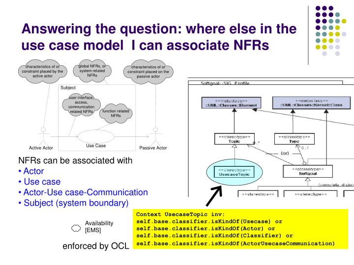 Answering the question: where else in the use case model  I can associate NFRs