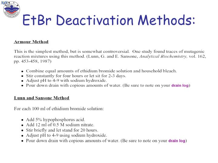 EtBr Deactivation Methods: