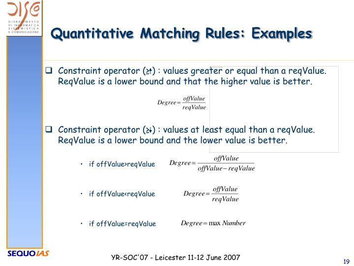 Quantitative Matching Rules: Examples