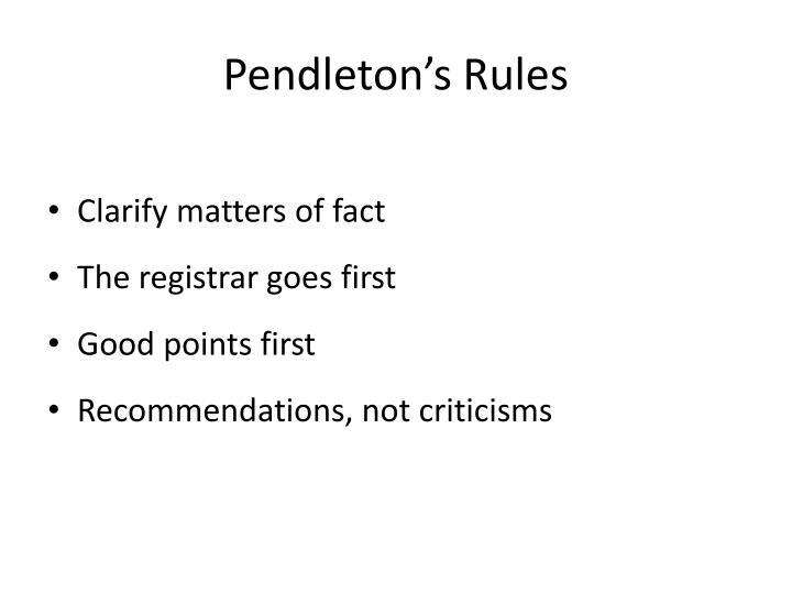 Pendleton's Rules