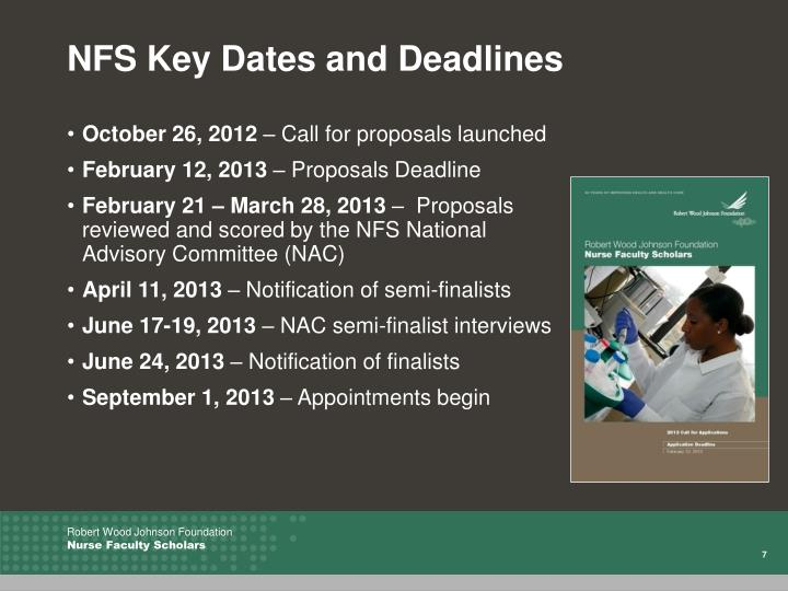 NFS Key Dates and Deadlines