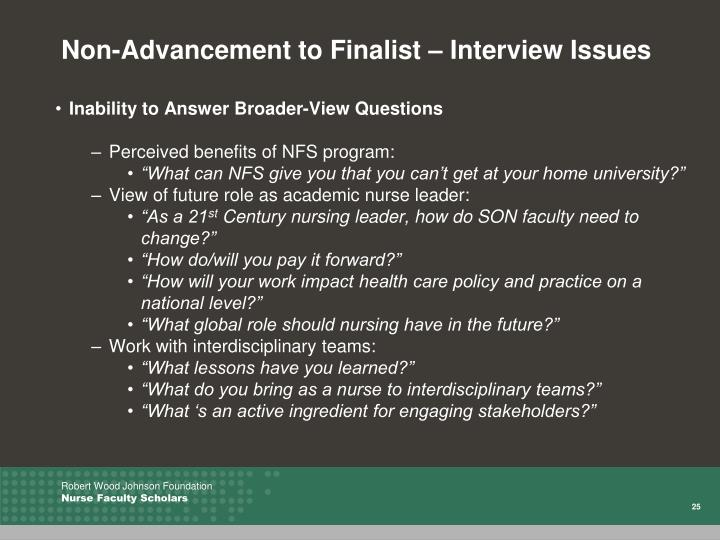 Non-Advancement to Finalist – Interview Issues