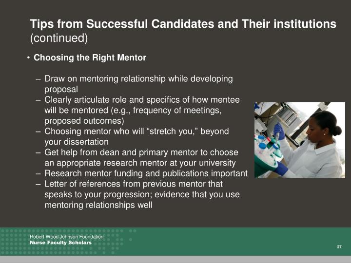 Tips from Successful Candidates and Their institutions