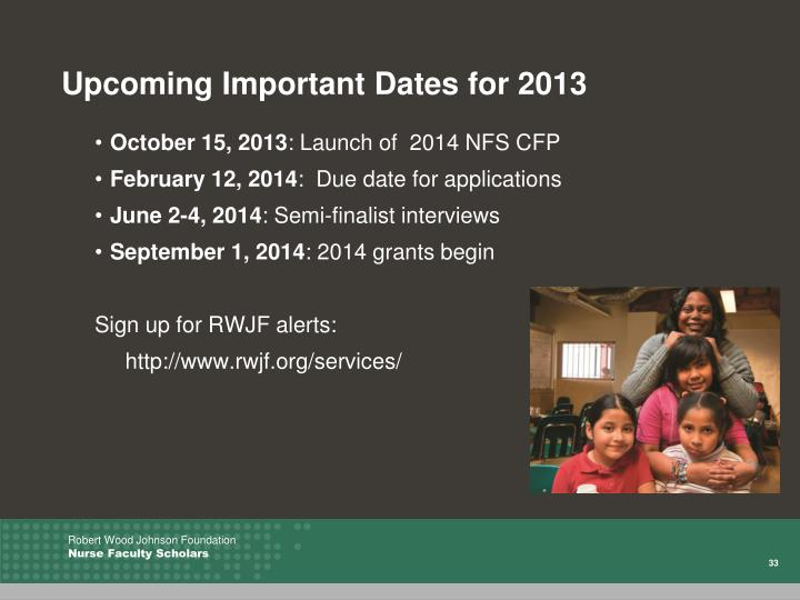 Upcoming Important Dates for 2013