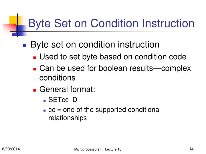 Byte Set on Condition Instruction