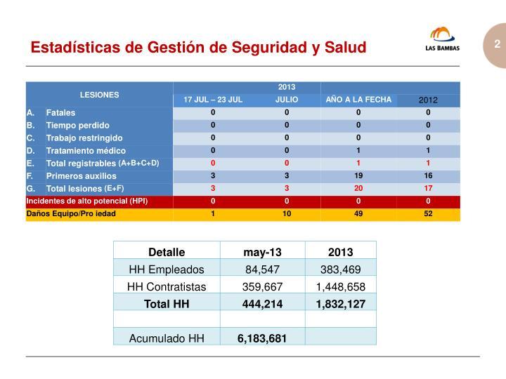 Estadísticas de Gestión de Seguridad y Salud