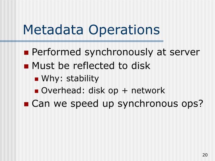 Metadata Operations