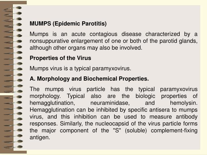 MUMPS (Epidemic Parotitis)