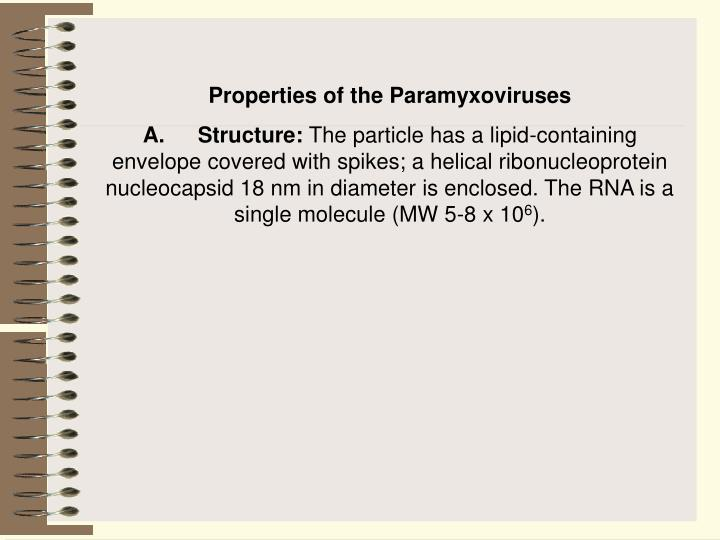 Properties of the Paramyxoviruses
