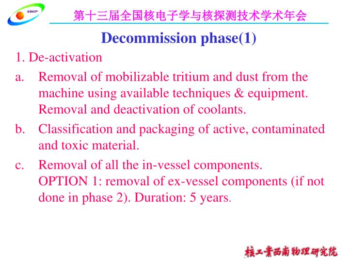 Decommission phase(1)